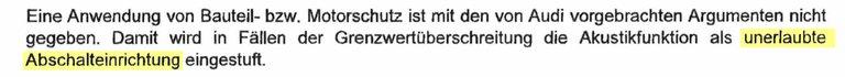 """Akustikfunktion ist schon 2017 """"unerlaubte Abschalteinrichtung"""""""