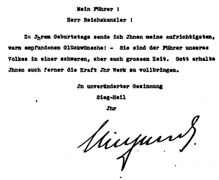 Geburtstagsgrüße von Wilhelm an Hitler 1936