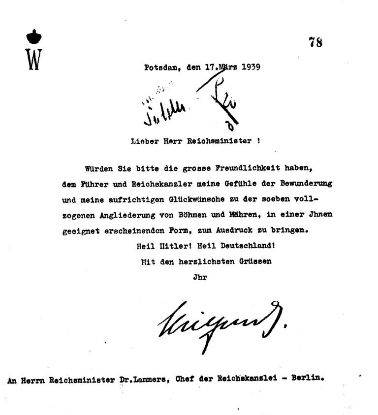 Glückwunschschreiben zum Überfall auf Böhmen und Mähren