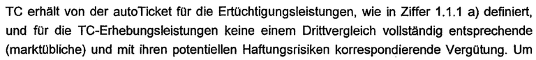 Ausschnitt aus Vereinbarung des Verkehrsministeriums