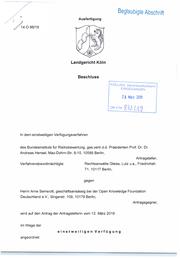 Einstweilige Anordnung des Landgerichts Köln
