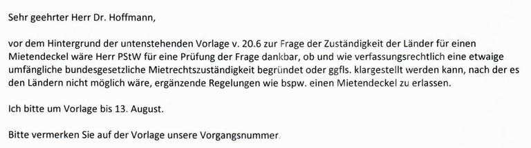 E-Mail des Assistenten des Parlamentarischen Staatssekretärs Marco Wanderwitz (PStW)