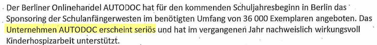 Interne Prüfung von Autodoc in der Berliner Verwaltung