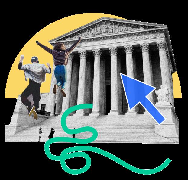 Zwei Menschen springen hoch vor einem griechischen Säuleneingang, ein blauer Cursor schwebt darüber, im Hintergrund geht die eine stilisierte Sonne auf