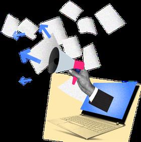 Megaphone an einer Hand, die aus einem Laptop kommt. Das Megaphone stößt Pfeile und Dokumente aus.
